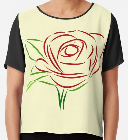 wundervolle rote Rose, Rosen, Liebe, rot Chiffontop für Frauen