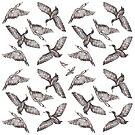 Cormorants pattern - greytones by Sally Barnett