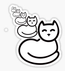 Black Lovely Cat smile kitty Sticker