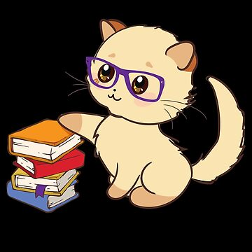 'Nerd Reader with Glasses ' Cute Cat Nerd Book  by leyogi