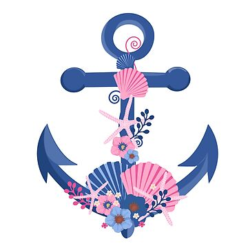 Nautical boat anchor Seashells & flowers illustration by artonwear