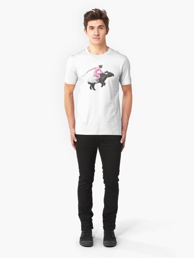 Alternate view of Turbo Tapir | Digital Illustration Slim Fit T-Shirt