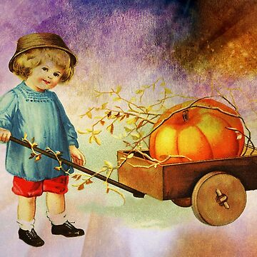 BOY WITH HIS PUMPKIN CART by Tammera