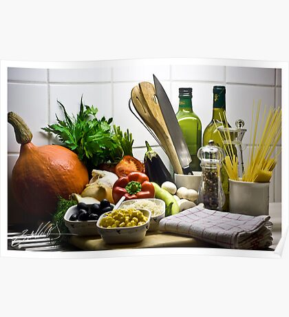 Kitchen Still Life with Pumpkin, Corn and other items Poster