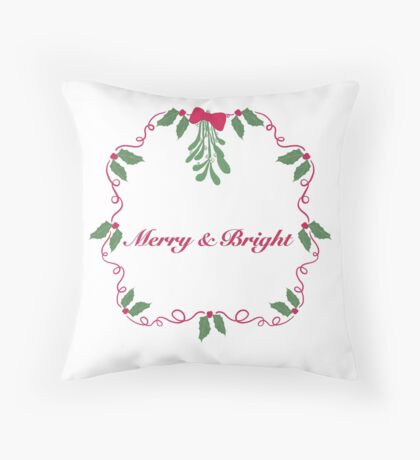 Merry and Bright Wreath Throw Pillow