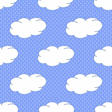 Clouds and Polka Dots on Blue by Gravityx9