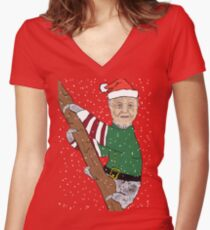 Festive Sir Sloth Women's Fitted V-Neck T-Shirt