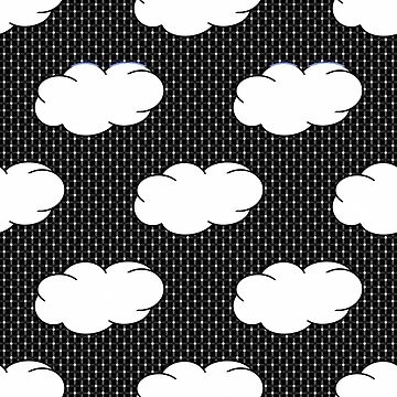 Clouds and Polka Dots on Black by Gravityx9