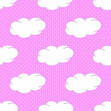 Clouds and Polka Dots on Pink by Gravityx9
