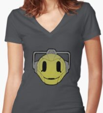 cyberman smiley Women's Fitted V-Neck T-Shirt