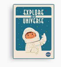 Vintages Plakat - erforschen Sie das Universum Leinwanddruck