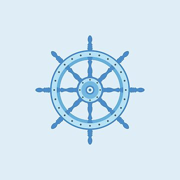 AFE Ship Wheel Light Blue, Nautical Art by afeimages1