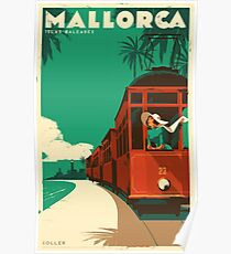 Retro travel poster — Mallorca, Spain ⛔ HQ quality Poster
