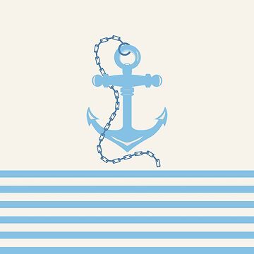 AFE Baby Blue Anchor & Chain, Nautical Art by afeimages1