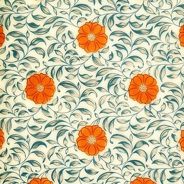 Chinese floral pattern - orange flowers by almawad