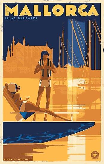 Retro Reiseplakat - Mallorca, Spanien ⛔ HQ-Qualität von Alex ⛵  Air