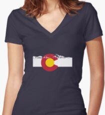 Rocky Mountains - Colorado Flag Women's Fitted V-Neck T-Shirt