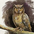 An Artistic Painting of an Owl in Earthy Shades by ibadishi