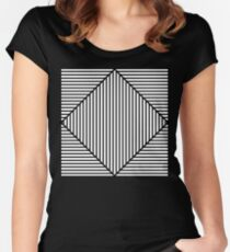Black white Visual illusion effect Women's Fitted Scoop T-Shirt