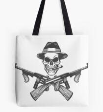 Gangster Skull Illustration Tote Bag