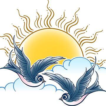 Two Swallows Flies in the Sky by devaleta
