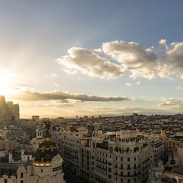 Madrid Cityscape from Above - Sundowner Time Over the Rooftops  by GeorgiaM