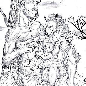 Family of werewolves - Black and white version by Furiarossa