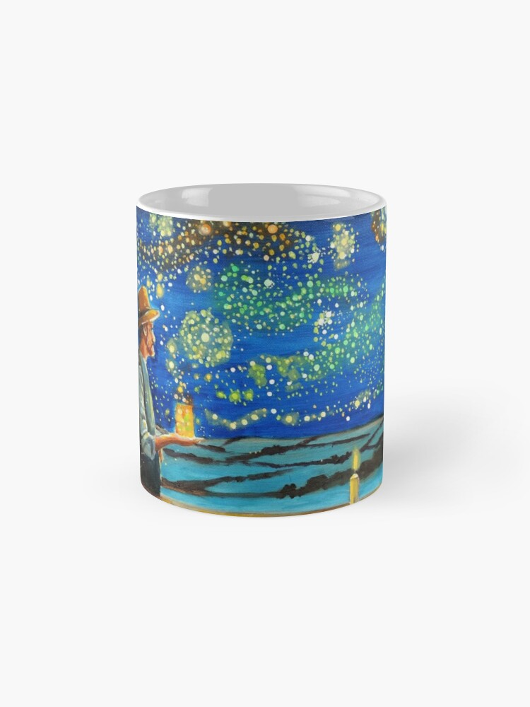 Alternate view of Van Gogh & The Starry Night with fireflies Mugs