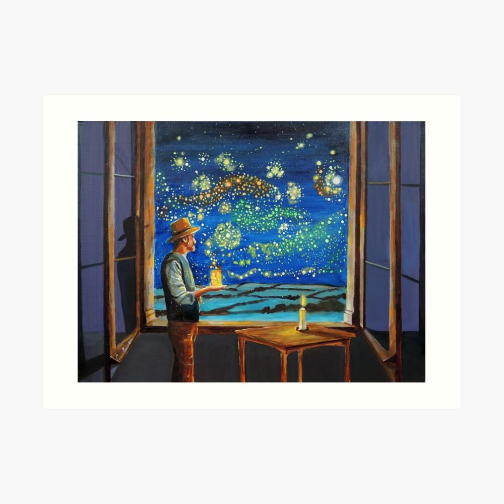 Van Gogh & The Starry Night with fireflies Art Print