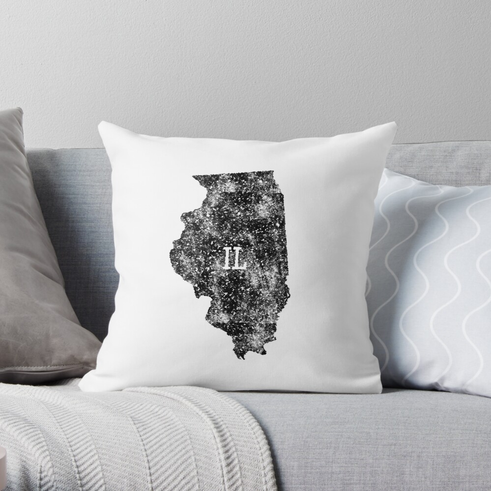 Illinois distressed State Map Abbreviation IL Throw Pillow