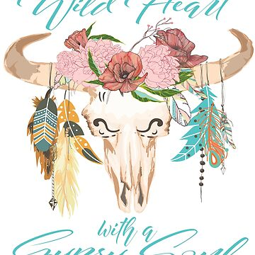 Boho Gypsy Soul - Cow Skull With Bull Feathers & Flowers by VintageInspired