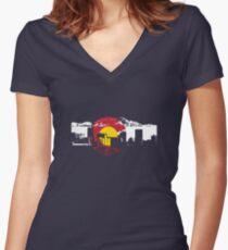 Denver Skyline - Colorado Flag Women's Fitted V-Neck T-Shirt