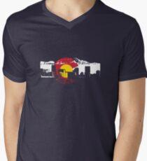 Denver Skyline - Colorado Flag Men's V-Neck T-Shirt