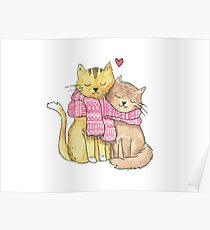 Winter Cat Lovers Christmas Scarf Poster