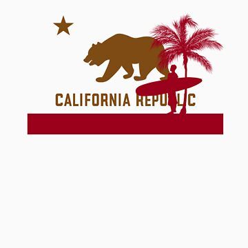 Surfer & Palm tree - California Flag by FlagSilhouettes