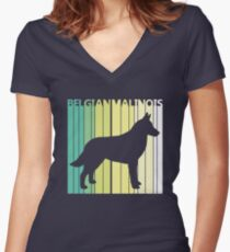 Cute Belgian Malinois Silhouette Women's Fitted V-Neck T-Shirt