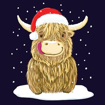 Scottish Highland Cow In The Christmas Snow by brodyquixote