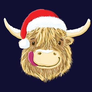 Scottish Highland Cow Christmas Santa Hat by brodyquixote