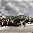 Gathering Around the Boat,  Cape Coast Ghana by Wayne King