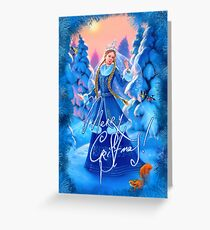 Tarjeta de felicitación Doncella de nieve navideña