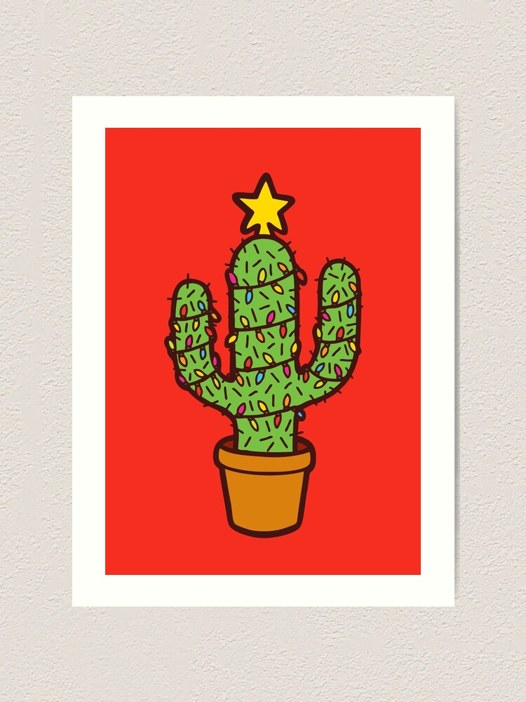 Alternate view of Cactus Christmas Tree in Red Art Print