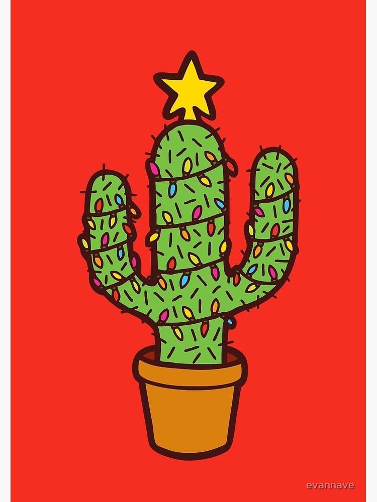 Cactus Christmas Tree in Red by evannave