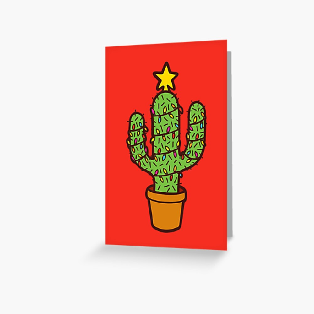 Cactus Christmas Tree in Red Greeting Card