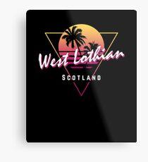 Funny 80s Retro Sunset 'West Lothian' Scotland Metal Print