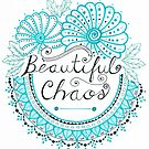 'Beautiful Chaos' Mandala Typography Illustration Cyan by Alifya Designs
