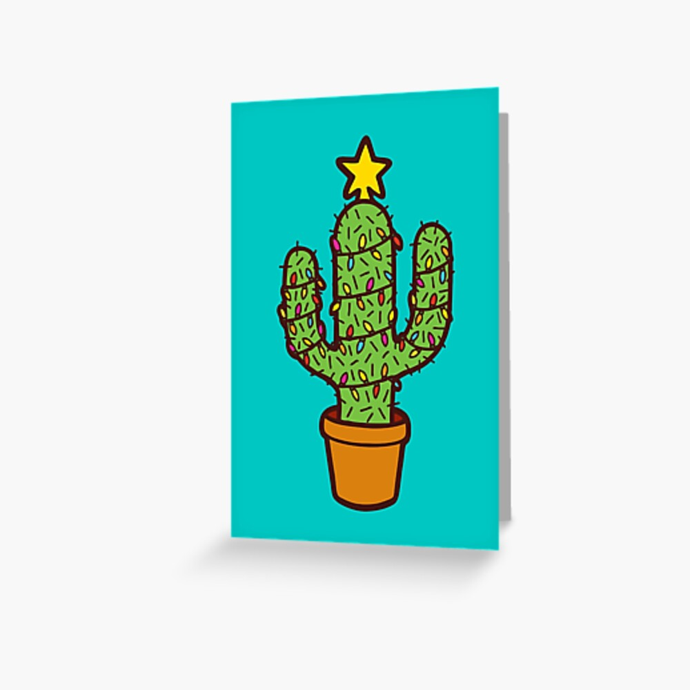 Cactus Christmas Tree in Blue Greeting Card