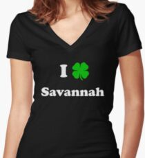 Savannah, GA St. Patrick's Day Women's Fitted V-Neck T-Shirt