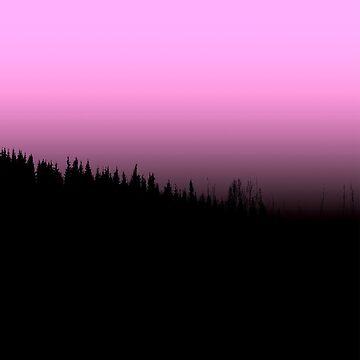 Wald Nebel Rosa Himmel Wanderlust von RanitasArt