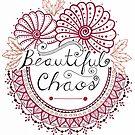 'Beautiful Chaos' Mandala Typography Illustration Red by Alifya Designs
