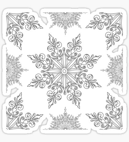 Holiday Snowflake Pattern #2 on Red Background Sticker